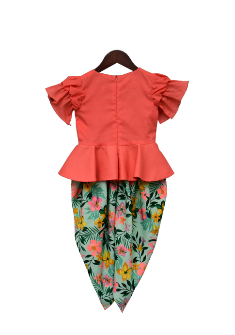 Girls Light Peach Peplum Top With Printed Dhoti