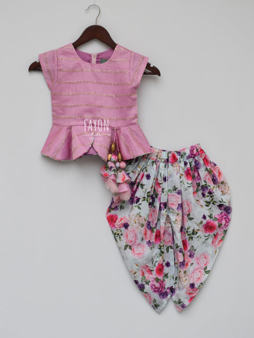 Girls Light Purple Chanderi Peplum Top With Printed Dhoti in New York