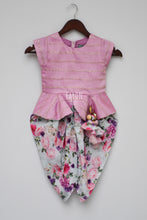 Load image into Gallery viewer, Girls Light Purple Chanderi Peplum Top With Printed Dhoti in Suwanee