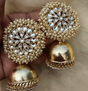 Buy Kundan and clustered pearls Indian Party Liz Earrings: Perfect Panache