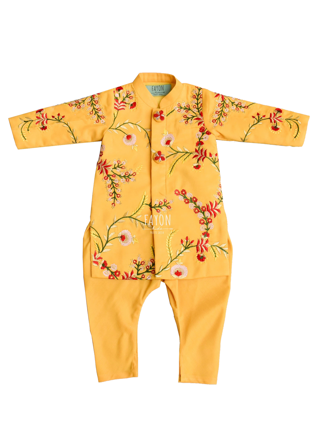 Boys Mango Yellow Embroidery Ajkan