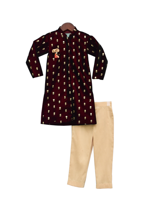 Boys Maroon Velvet Ajkan With Pant -1