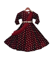 Load image into Gallery viewer, Girls Maroon Velvet Booti Anarkali