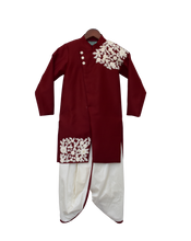 Load image into Gallery viewer, Boys Maroon Embroidery Ajkan With Dhoti