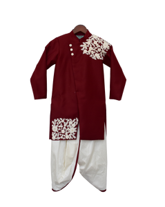 Boys Maroon Embroidery Ajkan With Dhoti