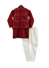 Load image into Gallery viewer, Boys Maroon Embroidery Jacket With Kurta And Churidar
