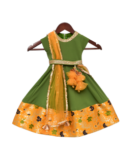 Girls Mehandi Green Georgette Anarkali