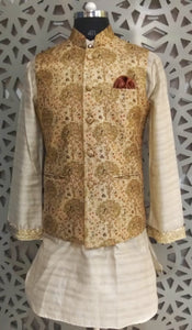 Mens Kurta And Digital Printed Silk Brocade Nehru Jacket