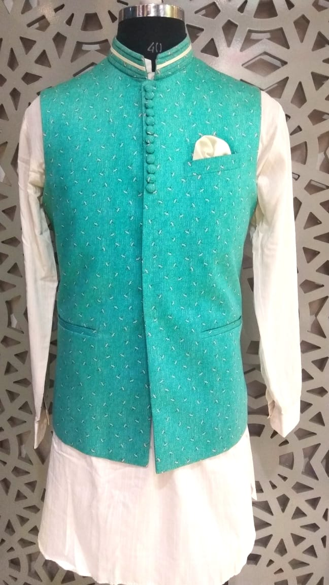 Mens Kurta And Pure Cotton Nehru Jacket