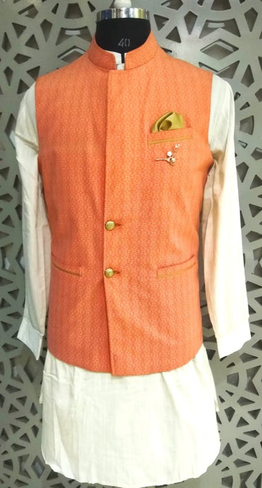 Mens Kurta And Pure Cotton Printed Nehru Jacket
