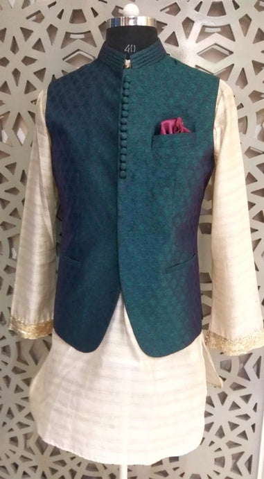 Mens Kurta And Self Silk Booti Nehru Jacket