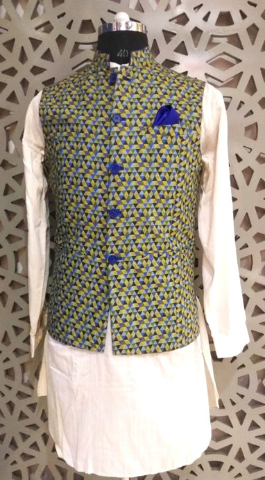 Mens Kurta And Pure Linen Printed Nehru Jacket