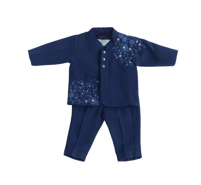 Boys Midnight Blue Embroidry Ajkan With Pant