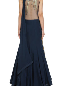 Midnight Blue Drape Saree Gown With Handwork