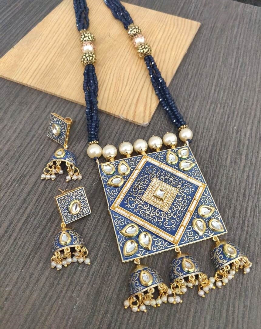 Buy Kundan with pearls Indian Party Mina Necklace: Perfect Panache