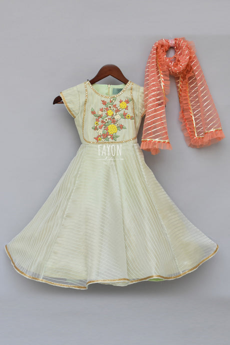 Girls Mint Green Anarkali Dress With Peach Dupatta in USA