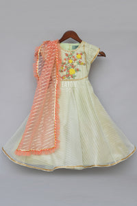 Girls Mint Green Anarkali Dress With Peach Dupatta in Suwanee