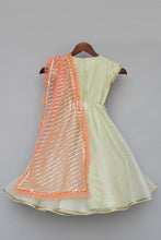 Load image into Gallery viewer, Girls Mint Green Anarkali Dress With Peach Dupatta in Las Vegas