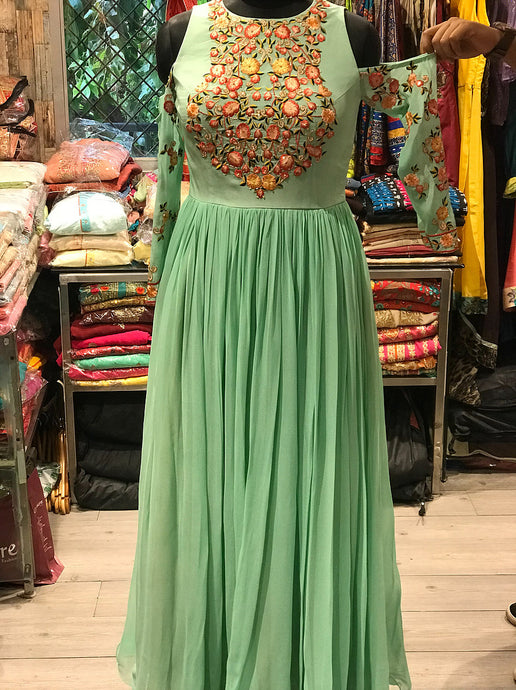 Mint Green Cold Shoulder Gown