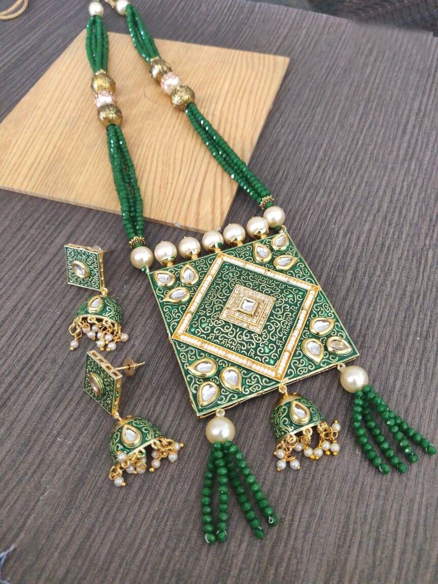 Buy Kundan with pearls Indian Party Mira Necklace: Perfect Panache