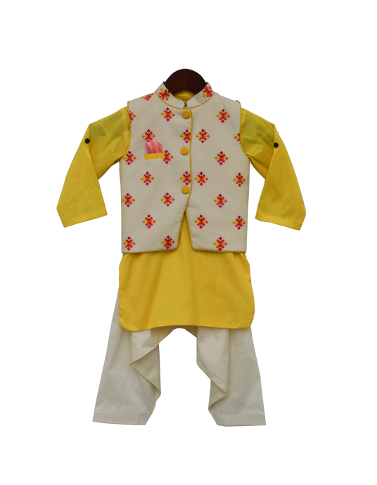 Boys Multi Colour Bootie Nehru Jacket With Salwar
