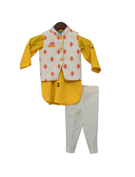 Boys Multi Colour Bootie Nehru Jacket With Yellow Kurta & Pant