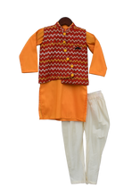 Load image into Gallery viewer, Boys Mustard Yellow Kurta With Printed Nehru Jacket Set
