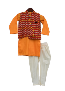 Boys Mustard Yellow Kurta With Printed Nehru Jacket Set