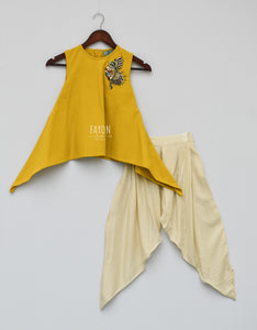 Girls Mustard Yellow Kurti With Patch On Shoulder & Dhoti in Suwanee