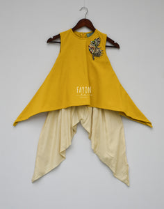 Girls Mustard Yellow Kurti With Patch On Shoulder & Dhoti in New York