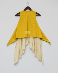 Girls Mustard Yellow Kurti With Patch On Shoulder & Dhoti in USA