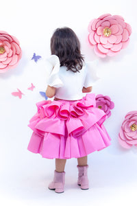 Girls Off White Unicorn Top With Pink Skirt