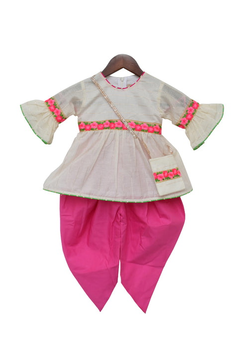 Girls Off White Chanderi Kurti With Pink Dhoti