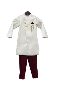 Boys Offwhite Ajkan With Maroon Pant
