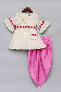 Girls Offwhite Embroidery Kurti With Dhoti