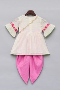 Girls Offwhite Embroidery Kurti With Dhoti in USA