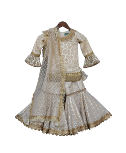 Girls Offwhite Embroidery Kurti With Sharara