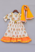 Load image into Gallery viewer, Girls Offwhite Flower Print Anarkali With Yellow Dupatta