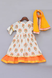 Girls Offwhite Flower Print Anarkali With Yellow Dupatta