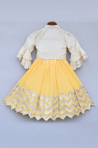 Girls Offwhite Knotted Top With Yellow Gota Lehenga