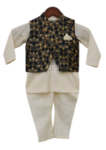 Boys Offwhite Kurta With Geometric Nehru Jacket & Churidaar