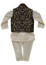 Load image into Gallery viewer, Boys Offwhite Kurta With Geometric Nehru Jacket & Churidaar