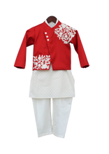 Load image into Gallery viewer, Boys Offwhite Kurta With Red Jacket & Churidar