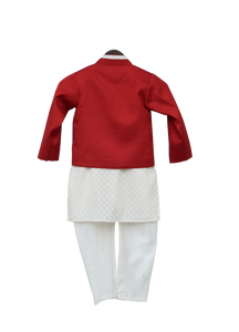 Boys Offwhite Kurta With Red Jacket & Churidar