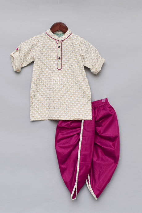 Boys Offwhite Printed Kurta With Krishna Dhoti