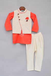 Boys Offwhite Printed Nehru Jacket With Kurta & Churidar