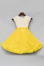 Load image into Gallery viewer, Girls Offwhite and Yellow Rose Frock