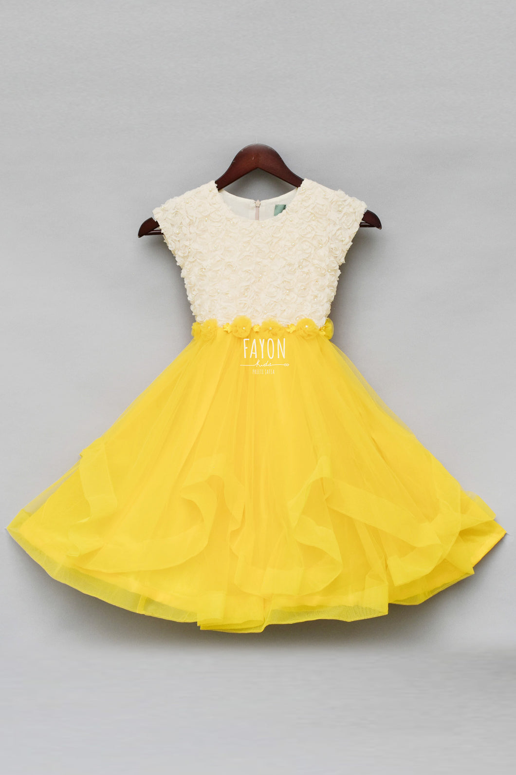 Girls Offwhite and Yellow Rose Frock