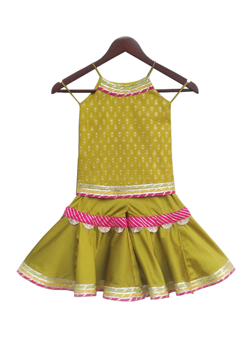 Girls Olive Green Sharara Set With Lacework