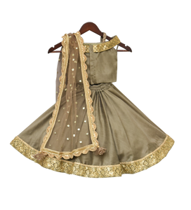 Girls Olive Green Embroidery Choli With Lehenga